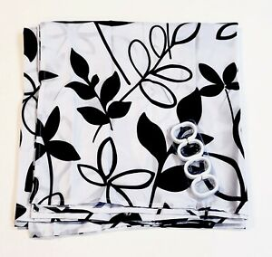 Black & White Floral Fabric Shower Curtain with Hooks Waterproof Bathroom Decor