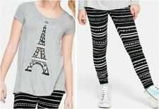 NEW 2pc JUSTICE Paris Eiffel Tower Swingy Top Tee & Leggings OUTFIT Sz 6 7 NWT