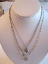 "3 STERLING SILVER NECKLACES WITH PENDANTS - 18"", 17"" & 14"" L - 1/2 OUNCE"