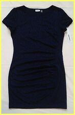 NWT DKNY DKNYC NAVY BLUE BLACK LEOPARD PRINT SIDE RUCHED KNIT JERSEY DRESS 8 M