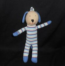 "10"" UNDER THE NILE ORGANIC COTTON BLUE STRIPE PUPPY DOG STUFFED ANIMAL PLUSH TOY"