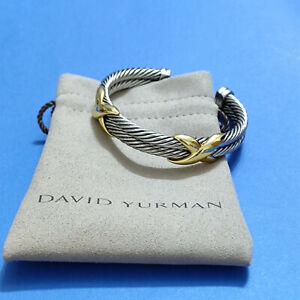 David Yurman Sterling Silver Double Cable 14K Gold X Cuff Bracelet 10mm