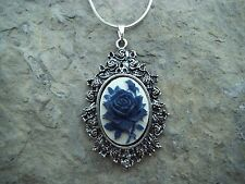 BLUE ROSE CAMEO PENDANT NECKLACE (ON WHITE) 925 PL CHAIN- QUALITY!! CHRISTMAS!!