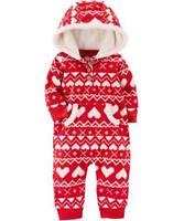 Carters Baby Girls Red One Piece Heart Print Fleece Jumpsuit Size NB 6 Months