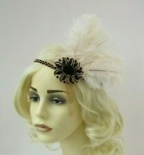 Ivory Cream Black Gold Chain Ostrich Feather 1920s Headband Flapper Gatsby 7633