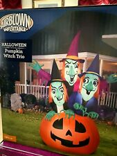 New! Large Light Up 6.5' Witch Trio On Pumpkin Halloween Inflatable Yard Decor