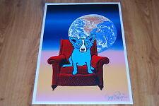 George Rodrigue Blue Dog Space Chair Split Font Blue & Pink Silkscreen Signed