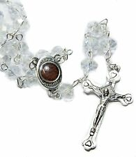 Jerusalem Holy Earth Soil Clear Glass Crystal Beads Rosary Israel Church Jesus