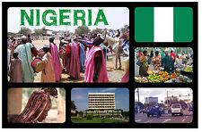 NIGERIA, WEST AFRICA - SOUVENIR NOVELTY FRIDGE MAGNET - SIGHTS & FLAG - NEW