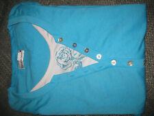 HELENA VERA Damen Shirt 3/4 Arm Top wie neu Gr.52 hellblau-Doppeloptik-Straß süß