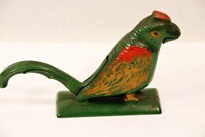 Antique Cast Iron Nutcracker Green PARROT Bird Doorstop