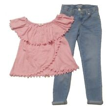 GAP KIDS size 12 Outfit LOT - Crochet Trim Top & Super Skinny Stretchy Jeans