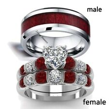 sz6-13 Couple Rings Stainless Steel Mens Ring Red CZ Women's Wedding Ring Sets