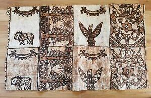 Large Tapa Bark Cloth Papua New Guinea Eight Panel Design Wall Hanging