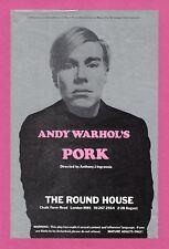 "Andy Warhol's ""PORK"" Anthony Zanetta / Kathy Dorritie 1971 Original London Flyer"