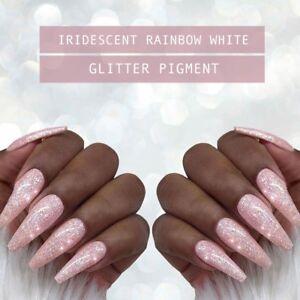 Super Fine Iridescent Rainbow Glitter Pigment Powder Dust Gel Nail Art Set Duo