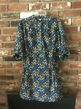 Lovely Women's Fossil Dress Tree  Print Size Small  Teal Blue Short Sleeves Mini
