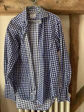 "TM Lewin Luxury Shirt 17.5""  Gingham Check Navy Blue White"