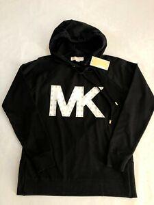 NWT Women's Michael Kors MK Black Hoodie Sweatshirt White Logo S M L XL