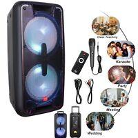 Portable Dual 10 in Bluetooth Speaker PA Cabinet Loud System Heavy Bass w/ Mic