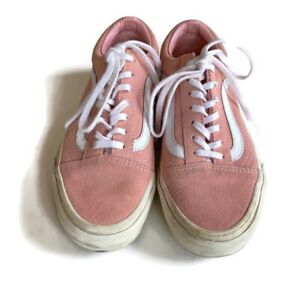 Vans Pink White Lace Up Sneakers Size 6.5