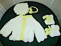 Hand crocheted vintage infant white w/ yellow trim sweater, bonnet, booties