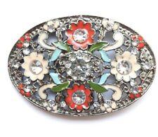 Große Gürtelschnalle XXL Strass Blume  bunt  oval chic M3