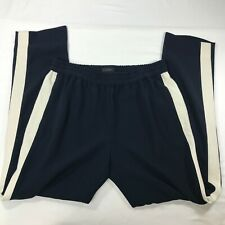 J. CREW Navy Blue Off White Stripe Casual Polyester Pants sz 2