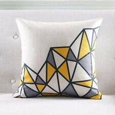 """18"""" Cushion Cover - Art Deco Inspired Grey & Yellow Triangle Pattern"""