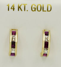 RUBY & WHITE SAPPHIRE HUGGIE HOOP EARRINGS 14k GOLD ** New With Tag **