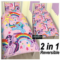 MY LITTLE PONY PARTY SINGLE DUVET COVER FLUTTERSHY DASH REVERSIBLE POLYCOTTON