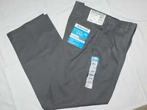 Haggar Cool 18 Pro Pants Classic Pleated Expandable Waist Stretch Heather Gray