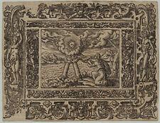 OFFENBARUNG Original Ornament Holzschnitt 1650 Rollwerk Adam + EVA Engel Sonne