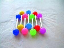 "1 PAIR 14g 5/8"" Grade 23 Titanium UV Acrylic Neon Nipple Barbell Ring 6MM Ball"