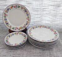 Z S & CO Bavaria ~ 6 Salad Plates ~ 3 Saucers ~ Pink Purple Orange Blue Flowers