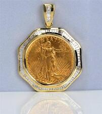 NEW 14KT GOLD DIAMOND PENDANT to fit U.S. $20 Gold Coin 4.17 cts (coin excluded)