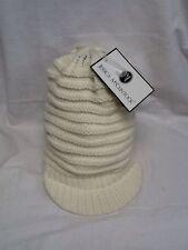 BNWT JESSICA McCLINTOCK CREAM WOOLY HAT- BEANIE STYLE WINTER CAP WITH BEAK
