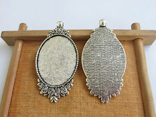 10 x Antique Silver 30x40mm Oval Pendant Tray Blank Bezel Cameo Cabochon Setting