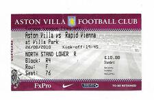 Billete 2010/11 UEFA Europa Liga-Aston Villa V. SK Rapid Wien