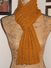 HAND KNITTED GORGEOUS SUPER LACE PATTERN LACE KNIT GOLD SEQUINED SCARF  60""