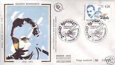 2810  FDC ENVELOPPE 1er JOUR SOIE DJANGO REINHARDT