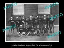 New listing Old Large Historic Photo Of Regina Canada, Regina Minto Cup Lacrosse Team 1910