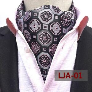 Men Silk Cravat Scarves Paisley Polka Dots Ascot Wedding Party Prom Necktie Ties