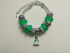Toddler / Child Handmade Silver Bracelet with an Enamel ARIEL DRESS  and Beads