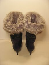 KILLAH by Miss Sixty Black Calf High Boots with Fur Cuff size 39 or 8.5