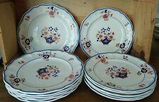 6 grandes assiettes plates  + 6 assiettes  Luneville, modèle Delft Van de Roos