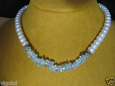 PEARL NECKLACE AQUAMARINE STRAND STRING WHITE SILVER GIFT HONORA MOTHER'S DAY
