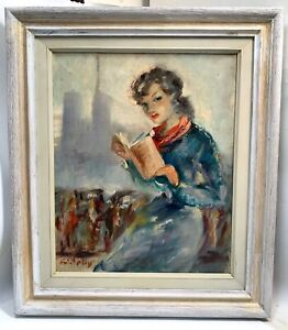 1960's French Impressionist Oil Canvas Painting Paris Girl w/ Notre Dame -Signed