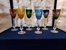 Faberge Odessa - 6 Crystal Multi Color Liquor/Cordial Glasses in Box (Unused)