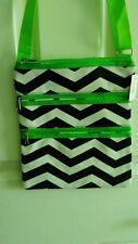 Black & White Chevron Green Trim Three Zippered Cross Body Messenger Bag Purse